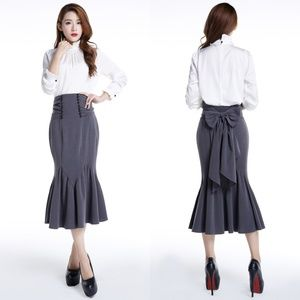 Dresses & Skirts - Pin Up Clothing Pencil Skirt Fishtail Buttons Bow